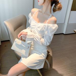 FS93701# 秋冬新款复古小方领抽绳灯笼袖气质A字小黑裙