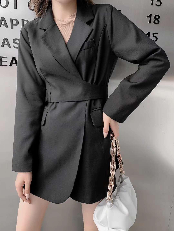 实拍现货2020新款中长款风衣女 韩版修身时尚翻领系带上衣外套-天姿服饰-