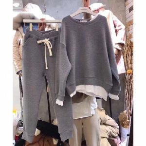 YF24730# 韩国东大门春秋假两件拼接宽松卫衣女两件套装卫衣港味时尚潮