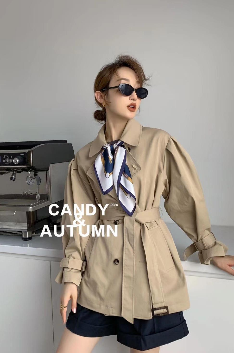 新品韩版宽松风衣外套女2020秋季英伦风系带双排扣上衣-包子铺-