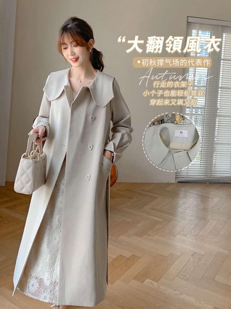 2020秋季新款大翻领气质宽松风衣中长款小个子英伦风大衣外套-夏飞家网络女装-