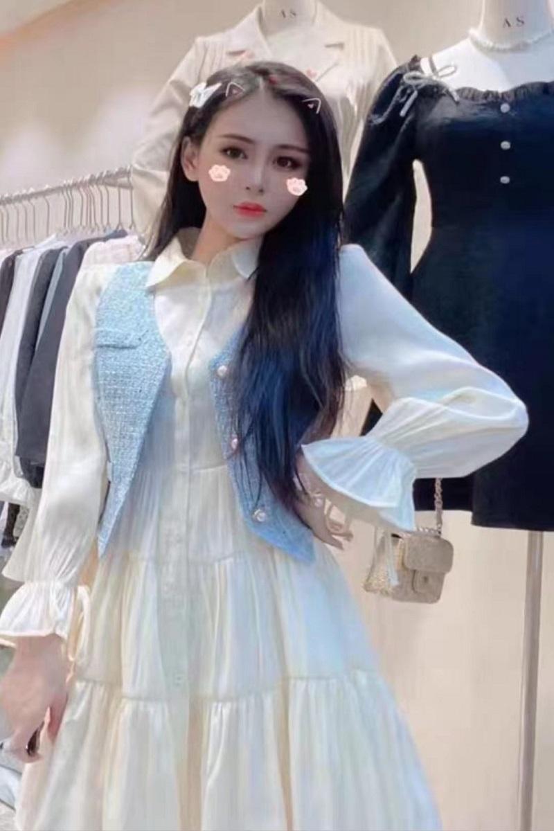 2020可爱甜美秋冬小香风蓬松长袖褶皱衬衣裙+针织珠马甲两件套装-阳光枫景-