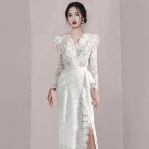 YF29996# 新款v领气质性感修身长袖蕾丝高端名媛大牌连衣裙 女装批发服装货源