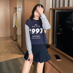 FS98507# 秋季新款卫衣韩版宽松衬衫袖拼接假两件百搭上衣女服装批发女装直播货源