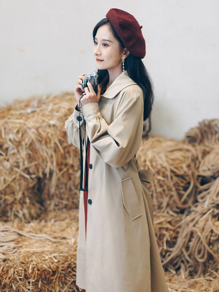 垂感风衣女中长款小个子薄款气质大衣2020年新款秋季韩版宽松外套-小芒果-