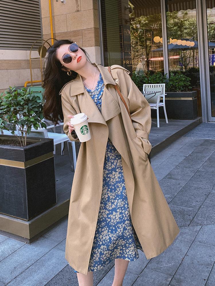 2020流行女装新款宽松收腰卡其色秋季风衣女中长英伦风气质大衣@-艾伊家潮流服饰2店-