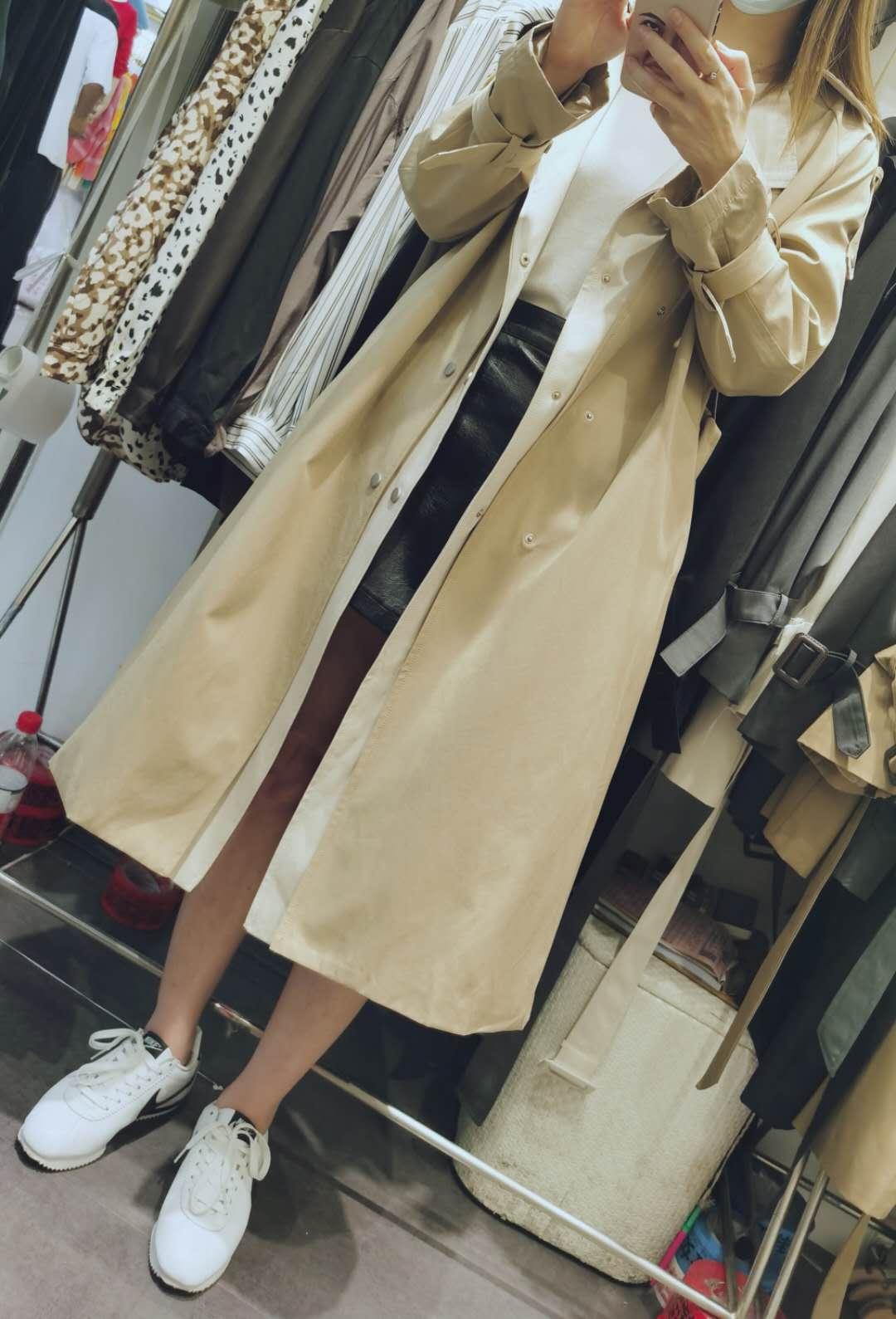 9.3 现货实拍 假两件撞色韩版风衣女 长款上衣外套女 两色可选-天姿服饰-