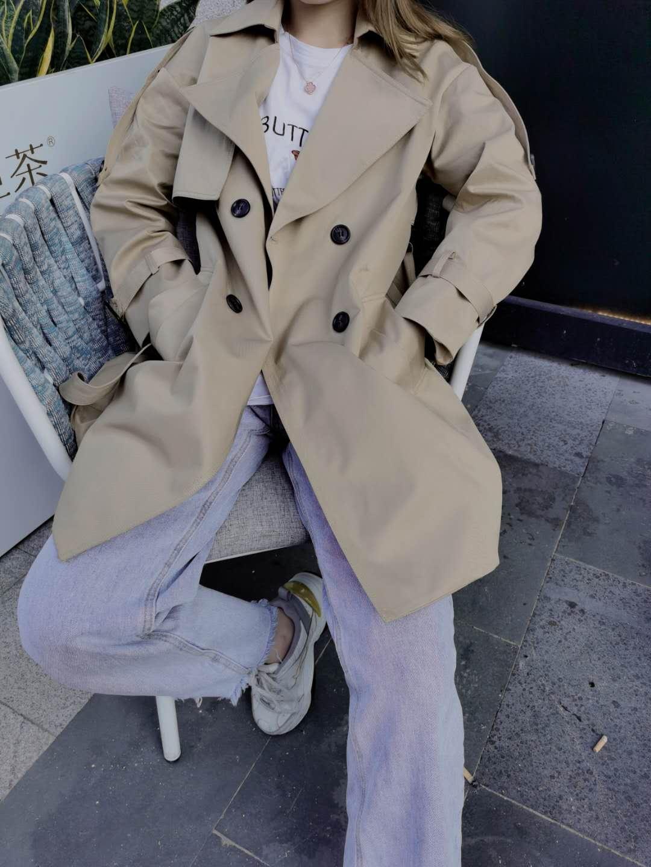 9,3 新款实拍现货 2020秋冬款风衣女 前装饰布 中长款上衣外套女-天姿服饰-