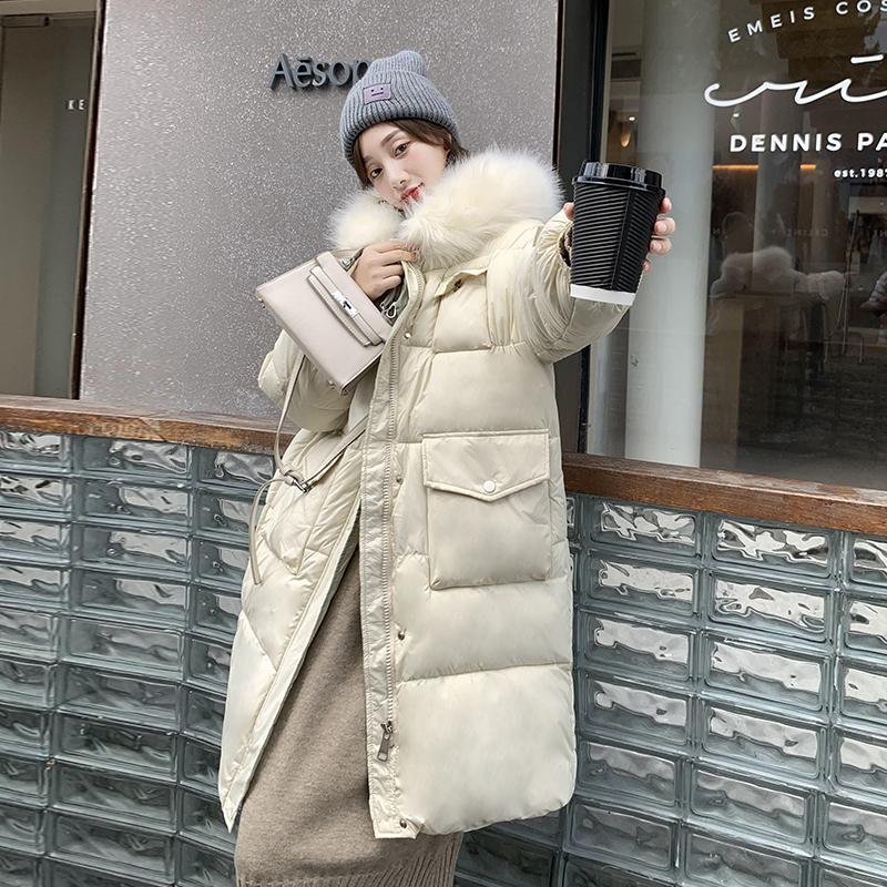 实拍大毛领棉服女2020冬装韩版棉袄中长款宽松羽绒棉衣面包服外套-靓衣轩羽绒服-