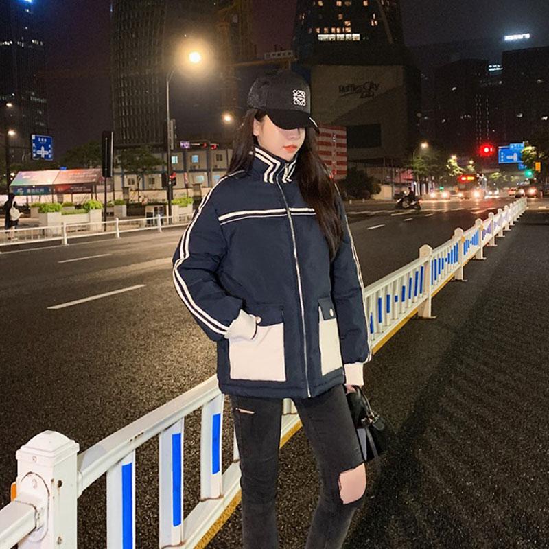 实拍 2020新款羽绒服女韩版立领拼接学院风宽松加厚面包服棉衣女-千姿秀羽绒服-