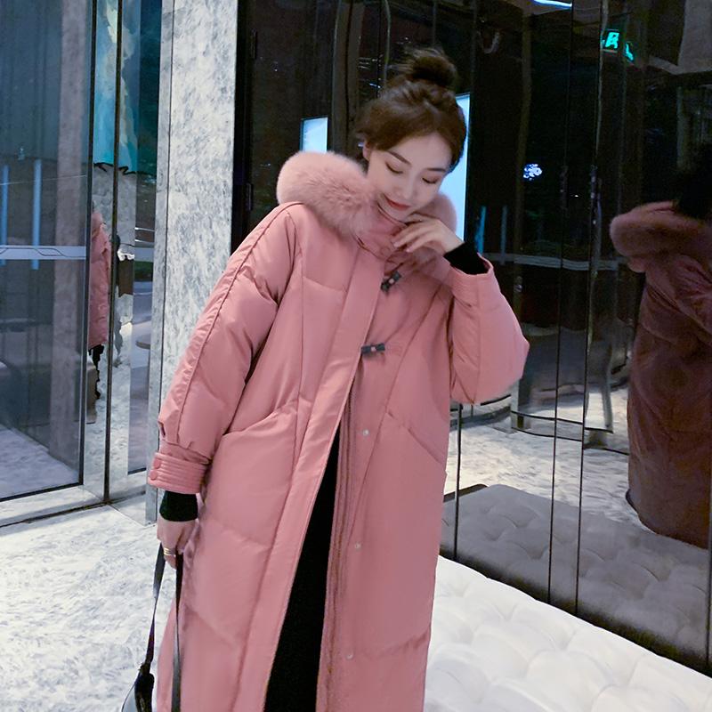 实拍2020夏诗文同款韩版时尚牛角扣羽绒服女中长款宽松棉服外套-靓衣轩羽绒服-