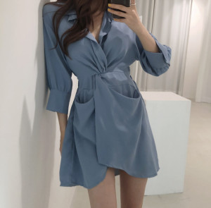 FS94211# 秋季新款韩国chic设计感中袖不规则收腰显瘦衬衫连衣裙 服装批发女装直播货源