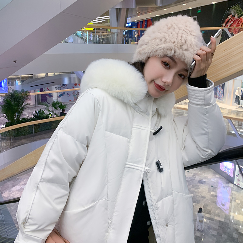 实拍2020新款韩版时尚牛角扣羽绒棉服中长款宽松加厚棉服外套女-千姿秀羽绒服-