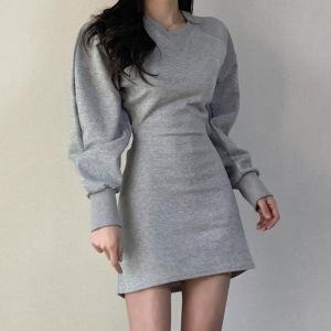 YF15723# 韩国东大门复古圆领后背镂空加绒显瘦长袖卫衣修身网红连衣裙