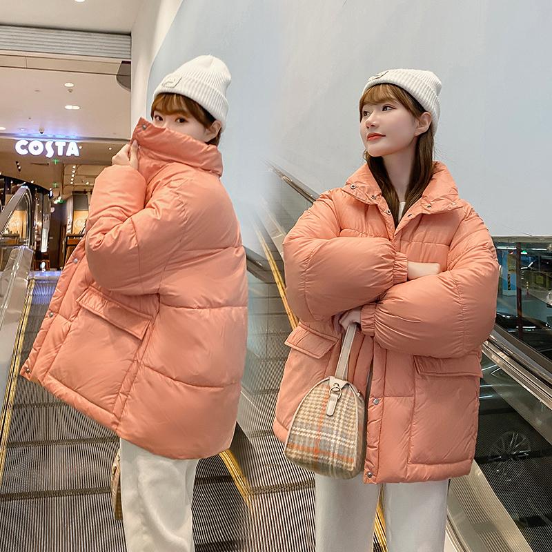 实拍2020新款糖果色羽绒棉服 女短款亮面网红面包服宽松学院棉服-千姿秀羽绒服-