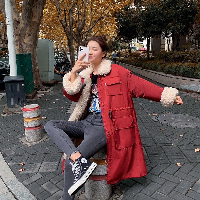 实拍韩版羊羔毛拼接羽绒棉服中长款过膝女宽松收腰工装外套女-千姿秀羽绒服-