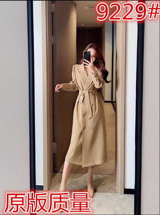 董小姐高端定制风衣女2020新款秋中长款双排扣系带小个子大衣外套-俏莉佳人-