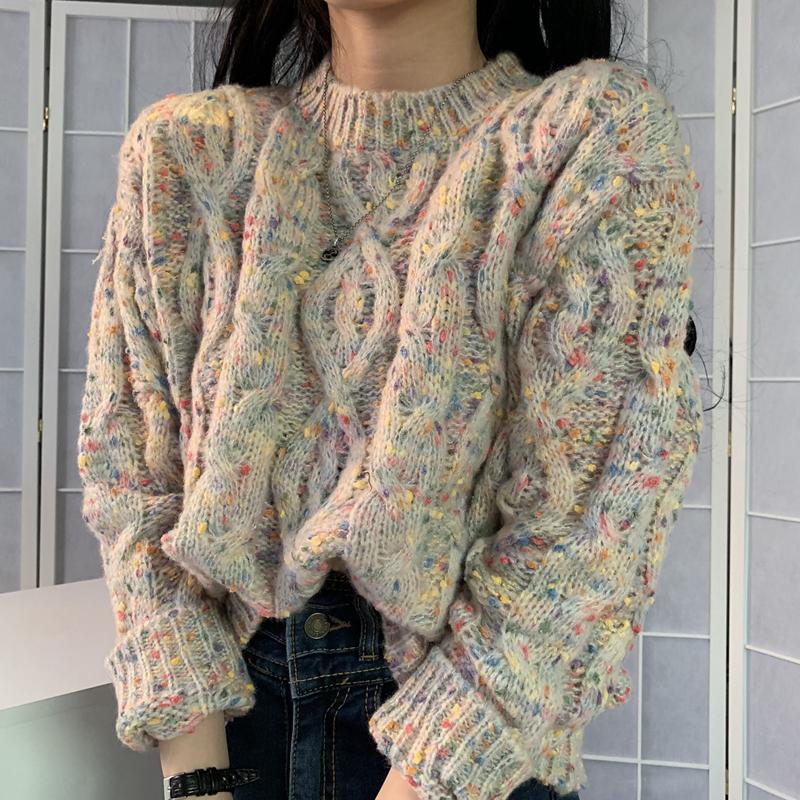实价 秋冬韩国ins复古洋气糖果点点粗针毛衣长袖针织衫女-金大地-