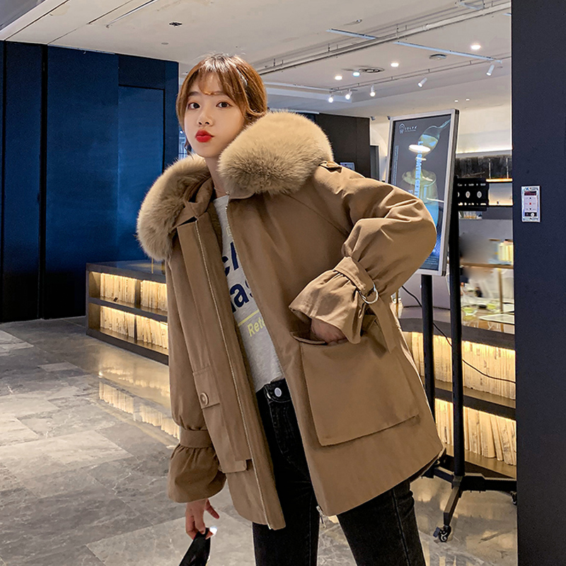 实拍棉衣女2020冬季新款工装派克服宽松小个子加绒棉服短外套-靓衣轩羽绒服-
