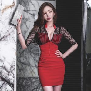 FS97157# 韩版修身深V领显瘦网纱拼接红色性感连衣裙服装批发女装直播货源