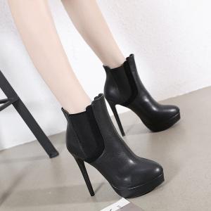 X-24404# 秋冬新款13CM弹力光面百搭气质高跟女靴子女鞋子批发女鞋货源