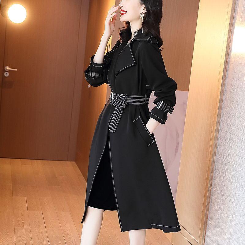 赫本风风衣女2020秋季新款宽松系带设计感风衣长款过膝黑色外套-诗佳轩服饰-