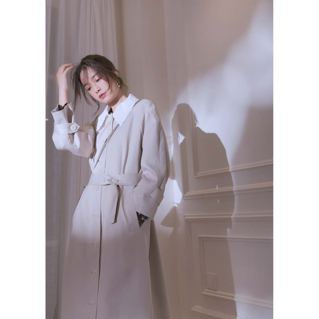 独立设计 大豆米 2020秋新品女神法式时尚外套中长款风衣薄-夏飞家网络女装-
