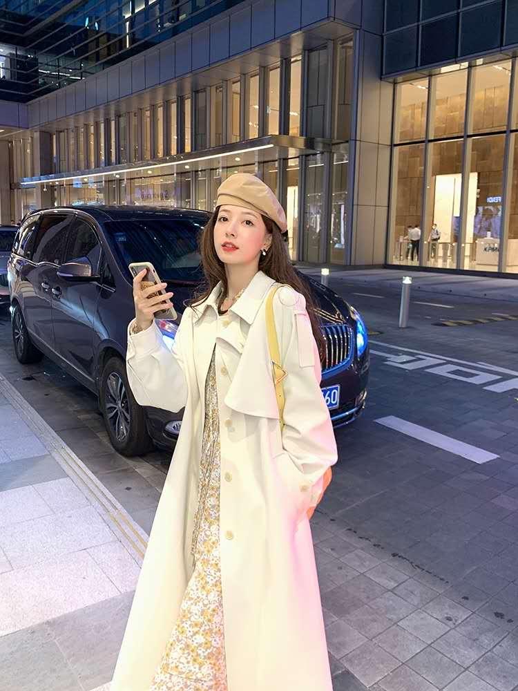 夏诗文 气质中长款白色风衣外套女2020早秋季赫本风垂感设计大衣-夏飞家网络女装-