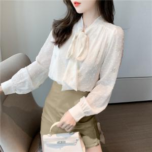 FS96123# 衬衫秋季新款刺绣系带上衣女长袖时尚打底小衫 服装批发女装直播货源