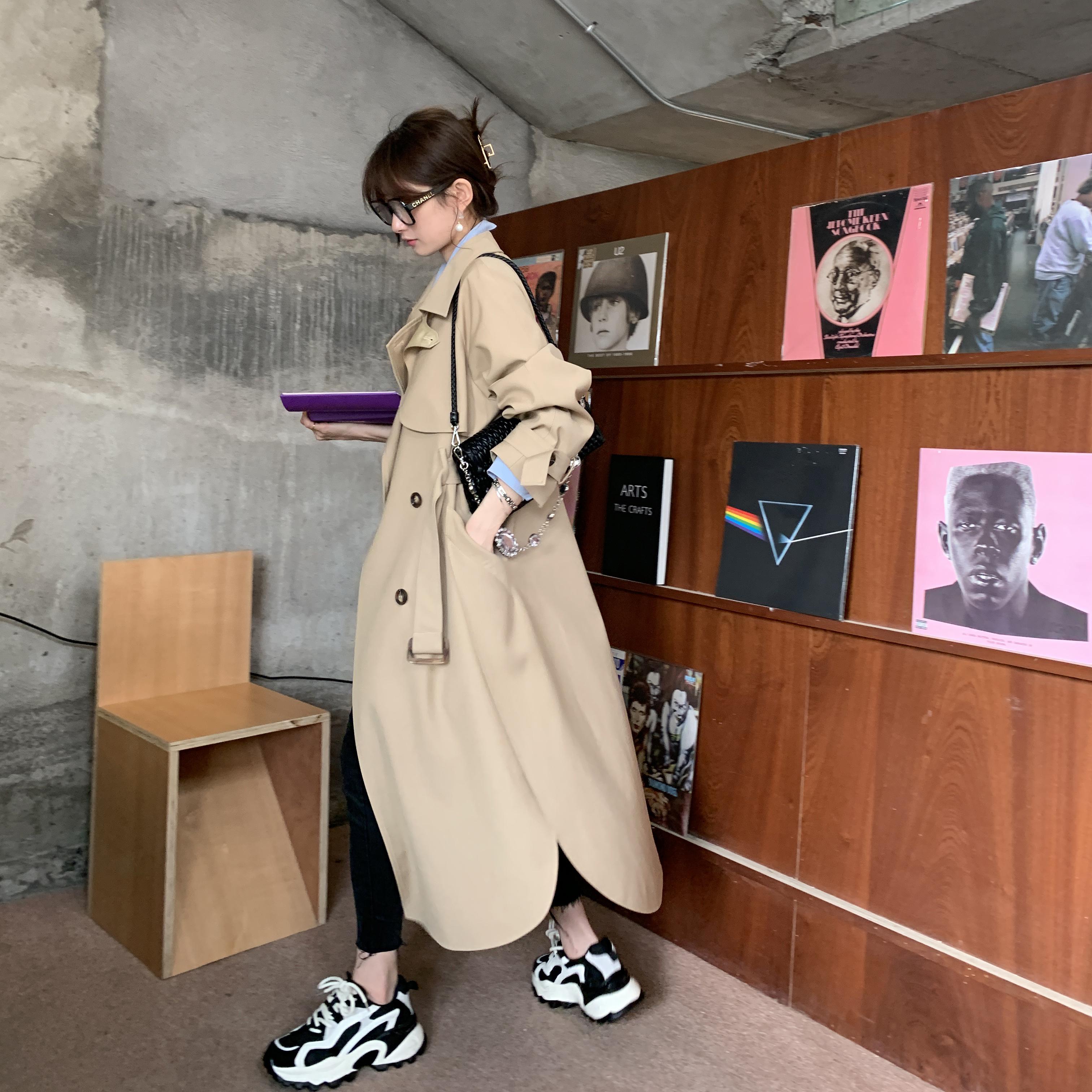 nnzes南自制 自带高级感经典廓形风衣女2020新款中长款春秋季外套-言言服饰-