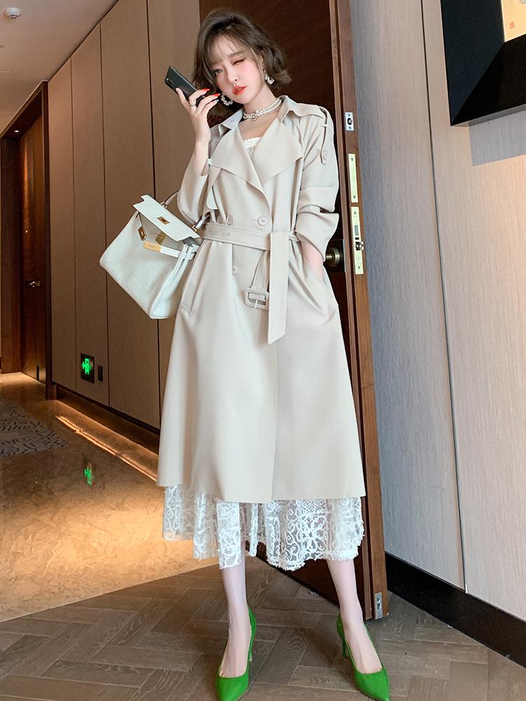 MIUCO大翻领双排扣中长风衣+吊带收腰蕾丝裙两件套女2020秋季新款-远豪服饰-