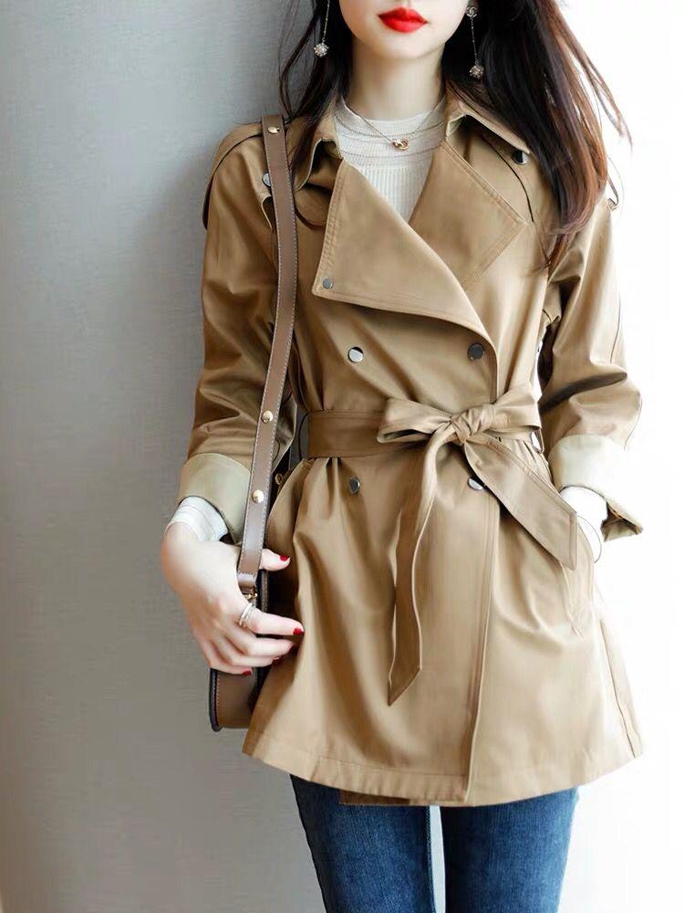 2020秋季新款英伦风小个子宽松收腰系带双排扣风衣外套女-茜米服饰-
