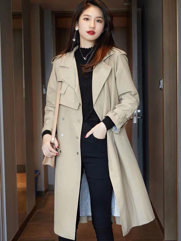 韩版时尚宽松中长款外套2020秋季新款卡其色双排扣系带风衣-茜米服饰-