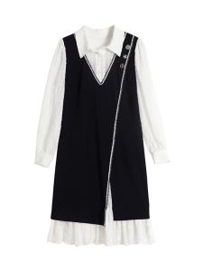 YF12287# 蓝语大码女装胖妹妹mm秋装新款连衣裙服装批发女装直播货源