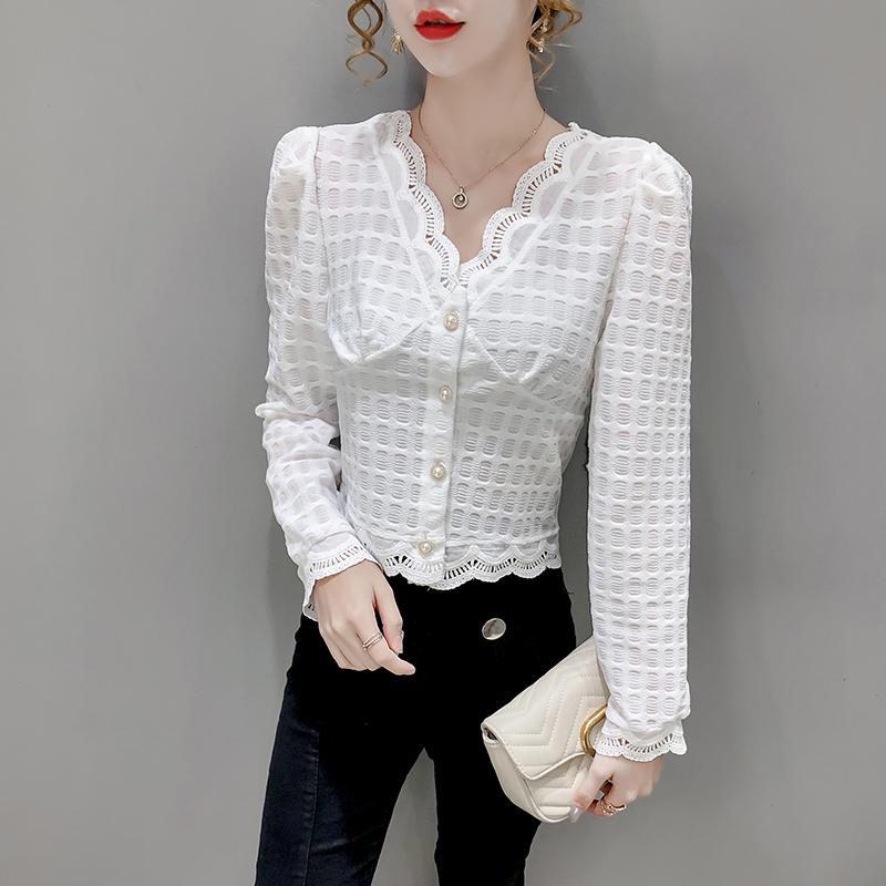 早秋心机短款设计感小众衬衫女长袖2020新款气质V领花边格纹小衫-好唛家-