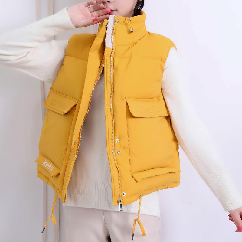 实拍2020新款立领短款马甲女士韩版羽绒棉保暖坎肩马夹 外套-千姿秀羽绒服-