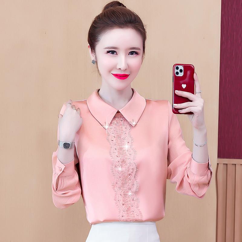 实拍真丝衬衫女时尚长袖2020秋季新款蕾丝拼接缎面重磅桑蚕丝上衣-伊贝尔-