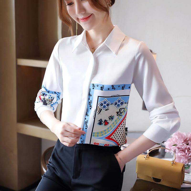 实拍印花白色衬衫女新款2020年秋季港风长袖上衣设计感女小众-韩芯儿服饰-
