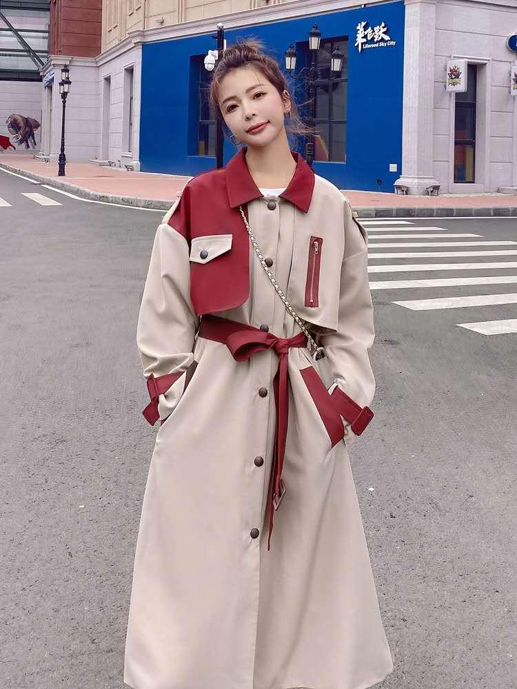 撞色今年流行风衣2020新款中长款气质英伦风高端大气韩版宽松外套-夏飞家网络女装-
