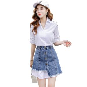 YF12599# 时尚套装秋款白色中长款衬衫不规则连衣裙牛仔半身裙两件套 服装批发女装直播货源