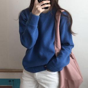 YF29481# 软奶蓝色毛衣女套头秋冬季外穿宽松慵懒风复古内搭针织打底衫加厚 服装批发女装直播货源