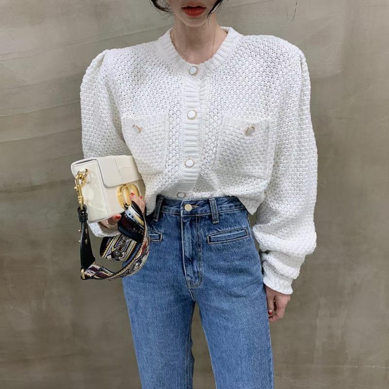 2020秋季新款韩国复古百搭时尚设计单排扣针织开衫毛衣外套-韩C-