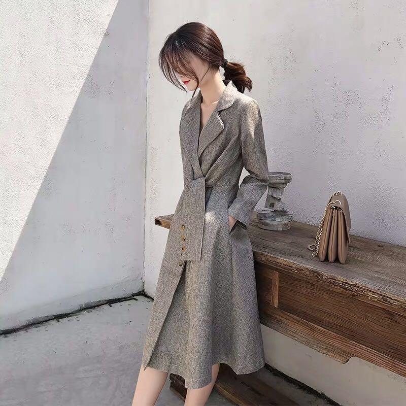 复古西装领连衣裙收腰显瘦2020年秋季新款气质轻熟风衣款过膝裙子-俊俊服饰-