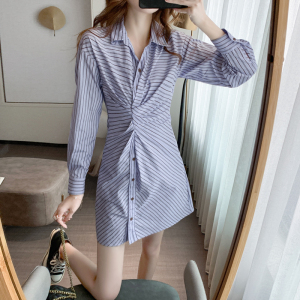 FS97991# 衬衫连衣裙秋装新款女收腰显瘦气质设计感长袖短裙子
