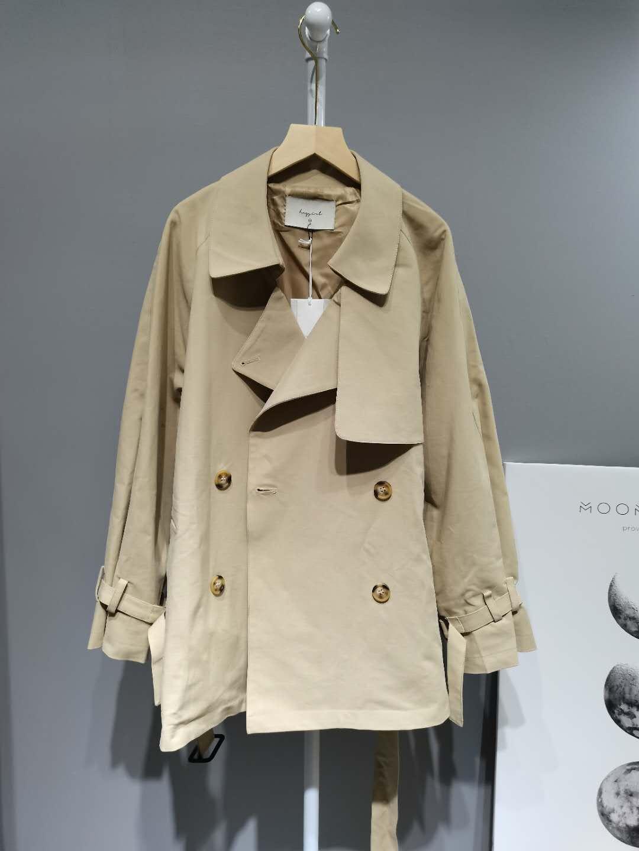 HEYGIRL黑哥 韩版宽松小个子短款风衣女 中长款显瘦气质薄外套秋-H家服饰-