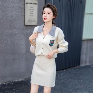YF11658# 秋冬新款女装百搭上衣+高腰包臀半身裙套装 服装批发女装直播货源