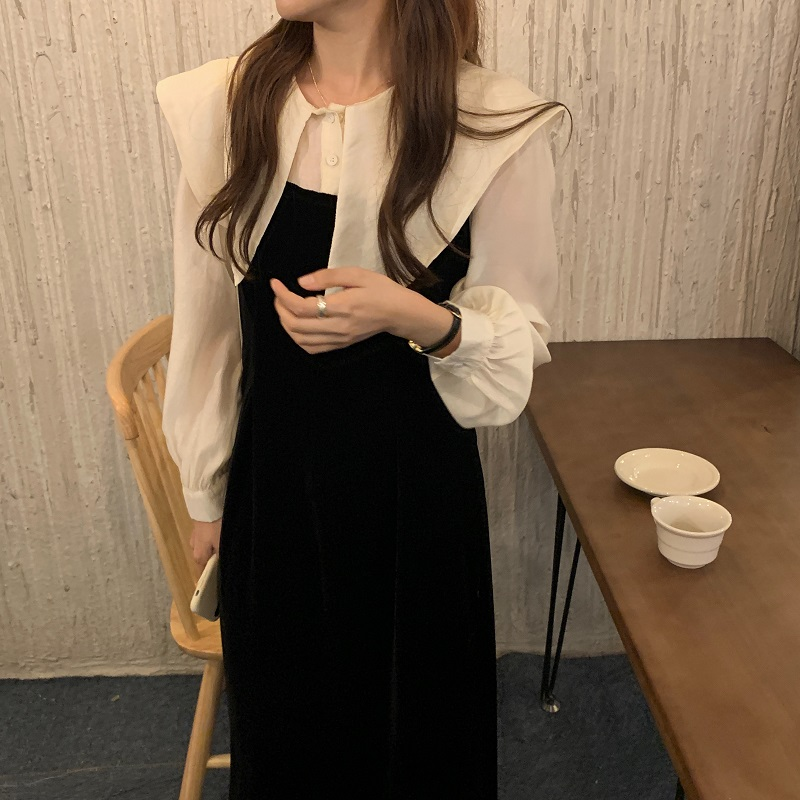 2020初秋新款可爱大翻领娃娃领 拼色丝绒连衣裙 显瘦裙-俊俊服饰-