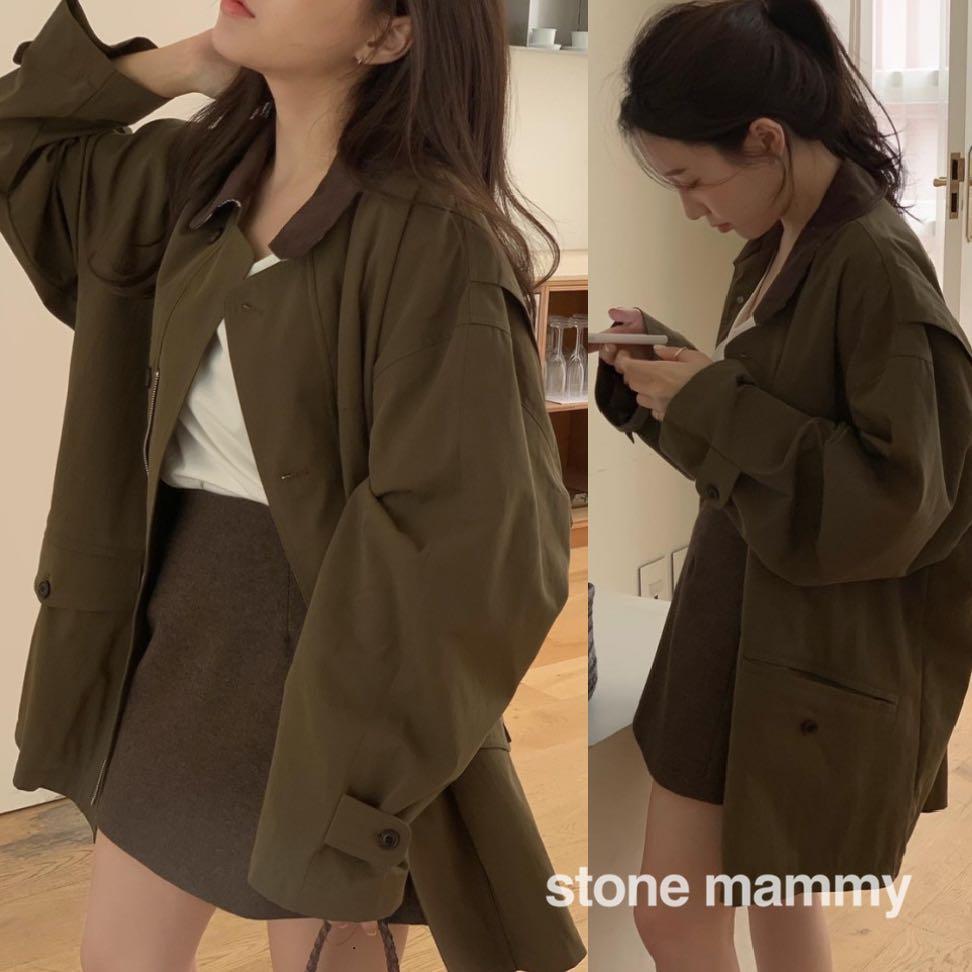 韩国代购 网红店 时髦chic复古拼色中长款夹克外套- 甜兒美服饰-