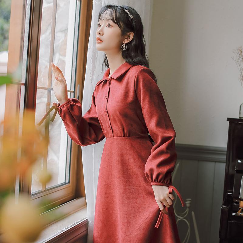 秋冬甜美蝴蝶结系带灯芯绒打底连衣裙 售价不低于78-芷昕实拍店-