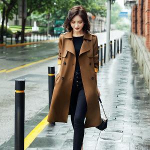 YF20372# 女式高档风衣女中长款英伦风大衣春秋装新款韩版气质洋气外套 服装批发女装直播货源